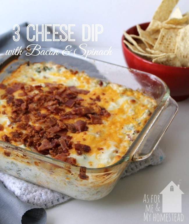 3 Cheese Dip with Bacon and Spinach