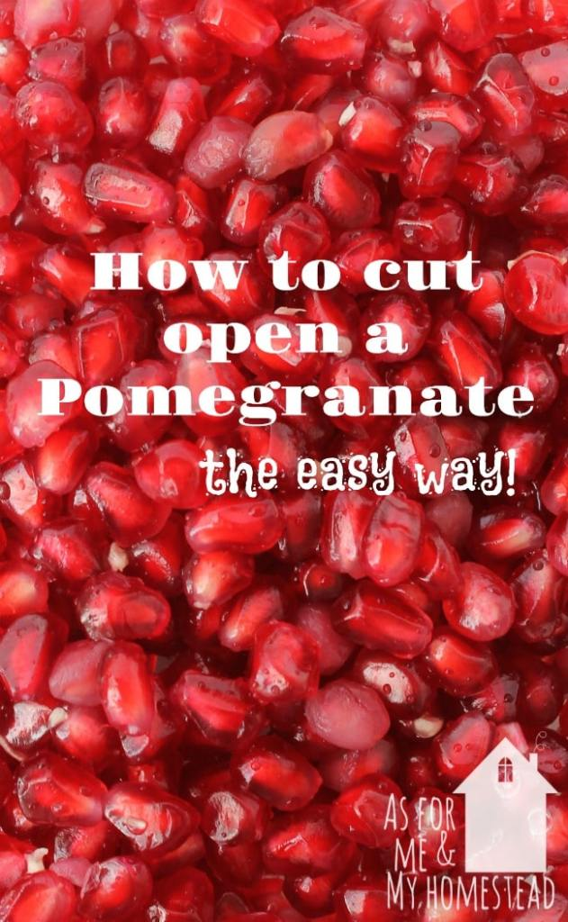 Close up of red, juicy pomegranate arils after I cut open a pomegranate