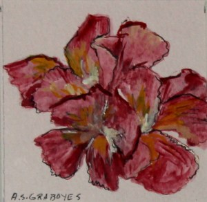 """Minis: Open Flower 6""""x6"""" ink, watercolor matted and framed"""