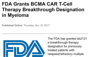 FDA grants bb2121 breakthrough status for previously treated patients with relapsed/refractory multiple myeloma