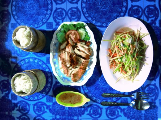 Best Food in South East Asia - Som Tam, Chicken and Sticky Rice