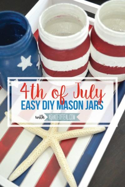 Easy Red White & Blue Mason Jars