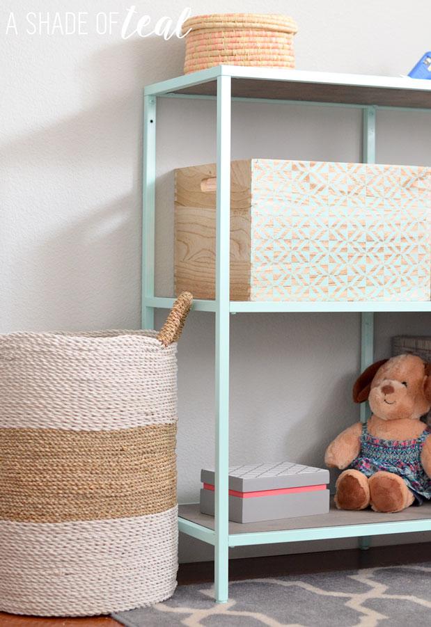 Big Girl Room, IKEA Vittsjo hack- Mint Bookshelf