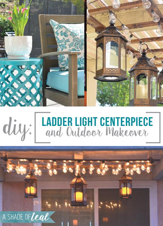 diy ladder light centerpiece outdoor makeover with big lots. Black Bedroom Furniture Sets. Home Design Ideas