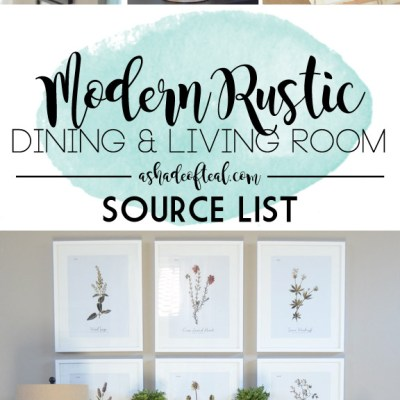 Modern Rustic Dining & Living Room // ORC: Source List
