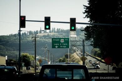 Lewis and Clark bridge. Washington State meets Oregon State