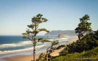 Looking north at Haystack Rock and Ecola State Park.
