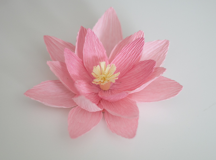 Crepe paper water lily ash and crafts crepe paper water lily tutorial ashandcrafts mightylinksfo