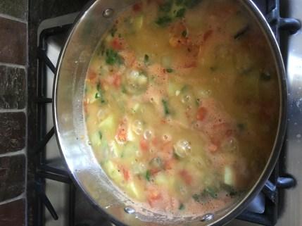 Cucumber, tomato Thovve - vegetable, lentil light sambar?