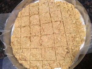 Cashew burfi - the angle of the photo makes the burfi look very dry, but it was more on the firm side.