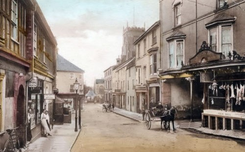 Church Street 1912 with The newsagents on the left hand side opposite the butchers Paignton History