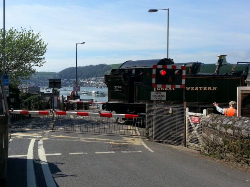 Steam train level crossing, Higher Ferry, Kingswear, Dartmouth