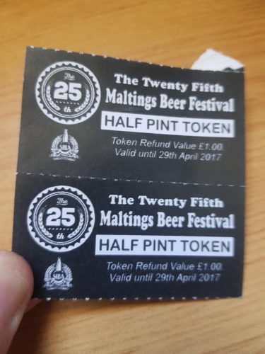 2017 Drinks Token, Tuckers Maltings Newton Abbot