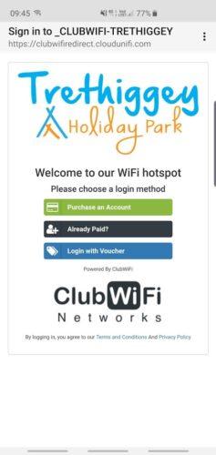 Trethiggey Holiday Park wifi