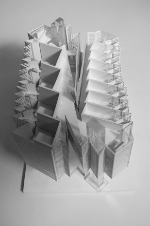 student work, gsd, tower, core III, jon lott, harvard, architecture, grasshopper, parametric, design, model, Emily Ashby, UVA, tower, skyscraper, Doha, Qatar, passive, facade, boolean, shading, landscape, developable surface, pleat, louver, origami, zig-zag, diamond, triangle, geometry, fold, folded