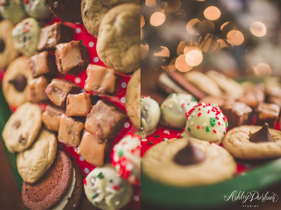 christmas cookies, oreo truffles, peanut butter blossoms