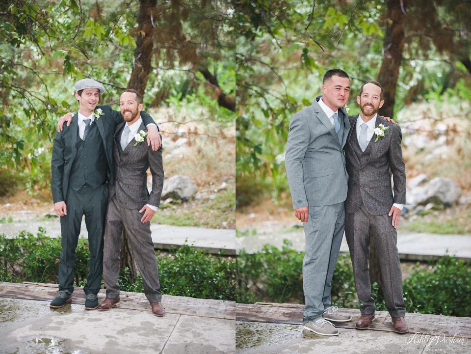 green mountain ranch, mismatching groomsmen suits, simple grooms suits