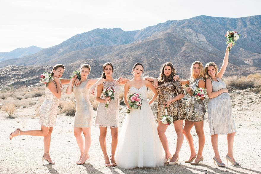 palm springs wedding, gold and black wedding, gold and pink wedding, desert wedding, palm springs florist, bridesmaid pose