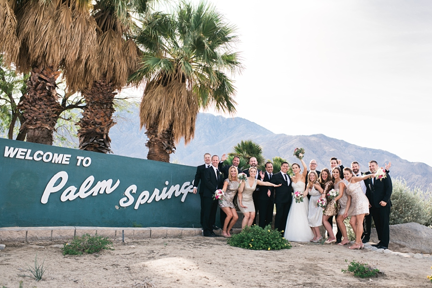 palm springs sign, wedding party by palm springs sign, palm springs wedding, palm springs wedding photographer