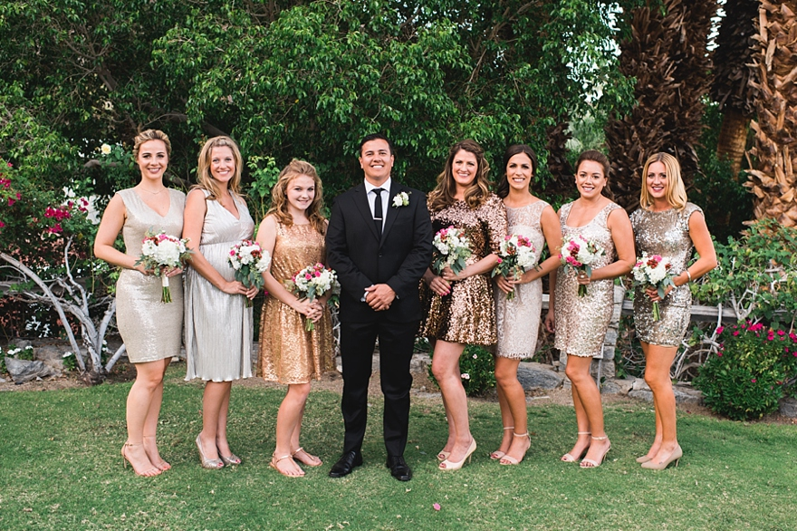 spencers palm springs wedding, randy and ashley weddings, spencers wedding, palm springs florist, gold sequins bridesmaid dresses