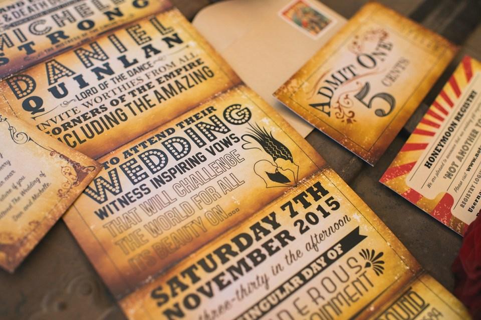 carnival wedding invitation, vintage wedding invitation, circus wedding