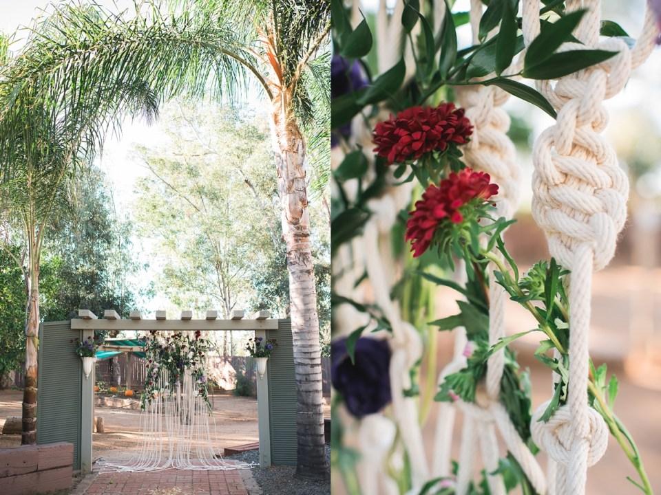 backyard vintage carnival wedding, bohemian wedding altar, sweet petals florist, menifee wedding