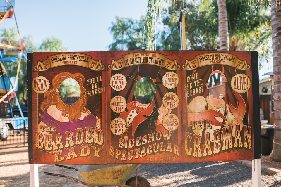 backyard vintage carnival wedding, cut outs for weddings, circus wedding ideas, carnival wedding ideas, vintage circus decor