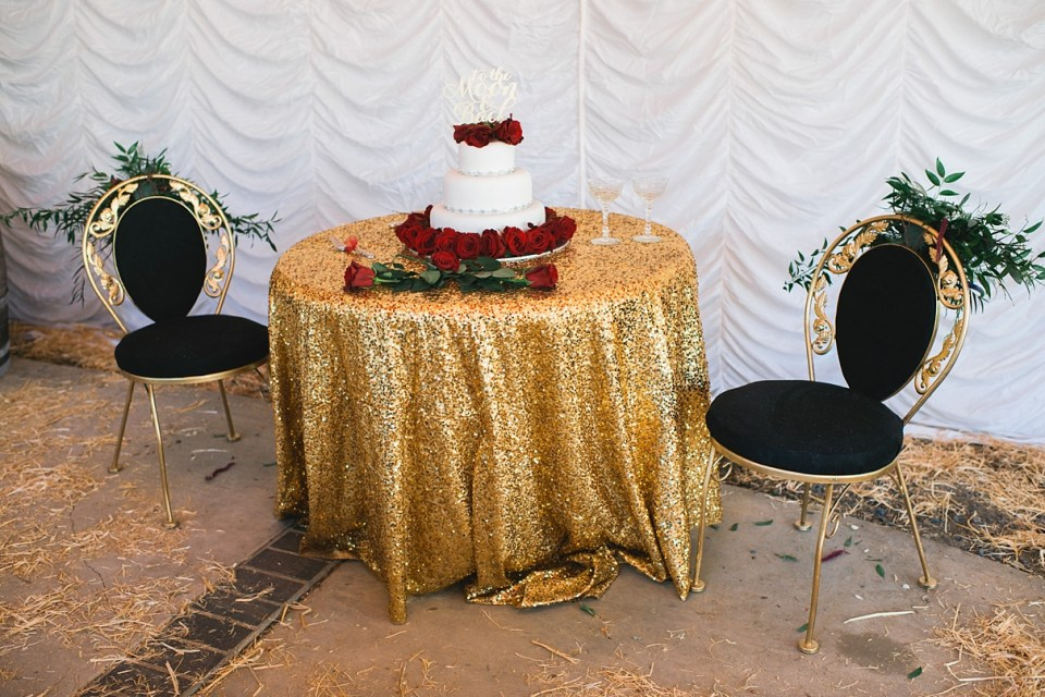 gold sequin sweetheart table, to the moon and back cake topper, heirloom rental southern california, circus wedding