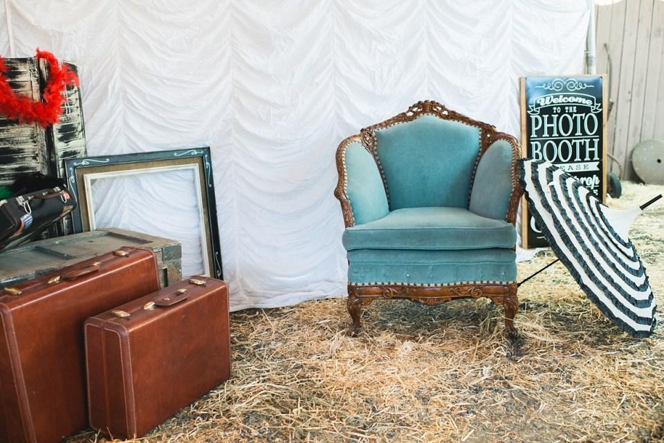 backyard vintage carnival wedding, homemade photo booth, DIY photo booth, heirloom vintage rentals