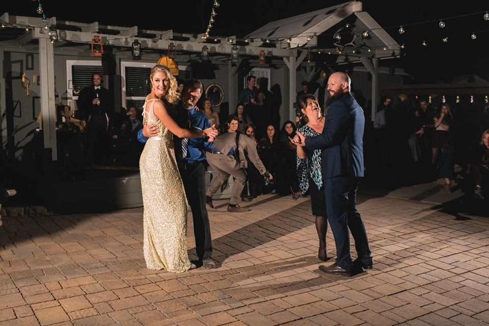 backyard wedding, first dance on the patio, OCF for first dances