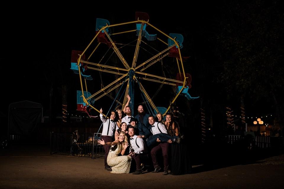 backyard vintage carnival wedding, ferris wheel at weddings, OCF wedding group photography, nighttime wedding photography, backyard carnival wedding