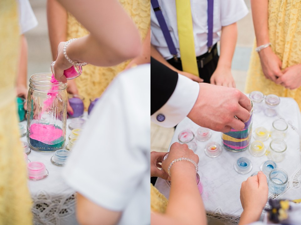 sand ceremony, integrated wedding traditions, ideas for weddings for people with kids