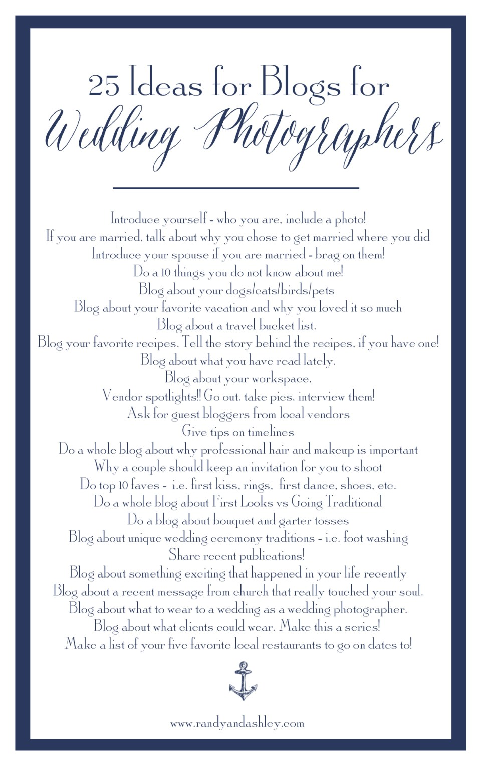 25 blogging ideas, photography blogging ideas, wedding blog ideas