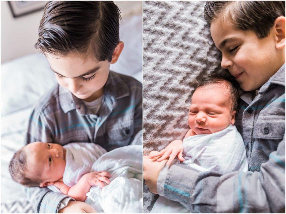 newborn and older brother together
