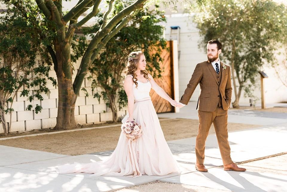 wedding couple walking hand in hand