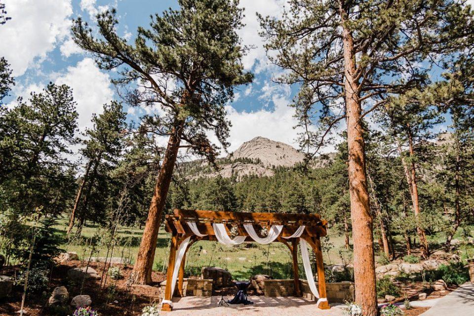 fisheye photo of wedding ceremony site della terra mountain chateau