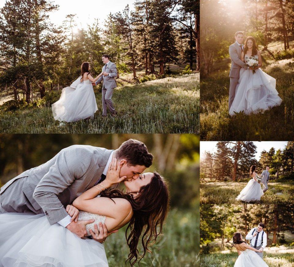 estes park golden hour wedding photos