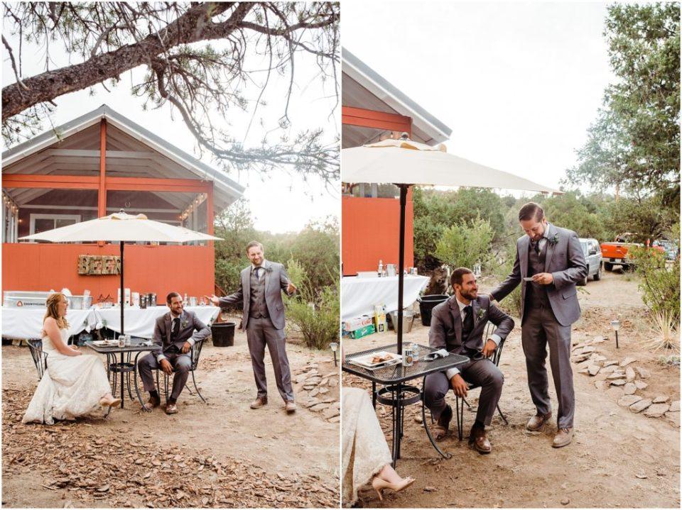 best man toast outdoor cabin wedding