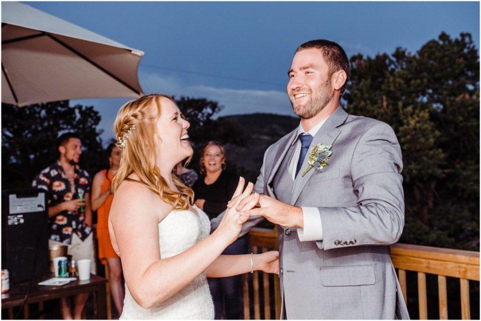 guests dancing outdoor cabin wedding south fork colorado