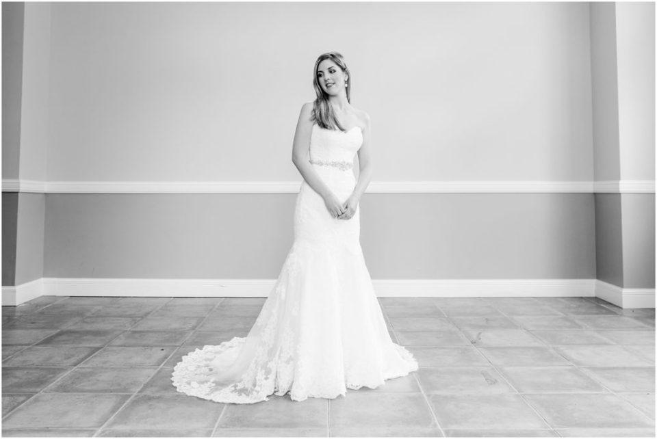 indoor black and white bridal portrait