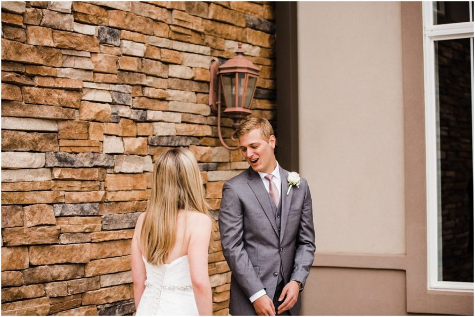groom's awed reaction to first look