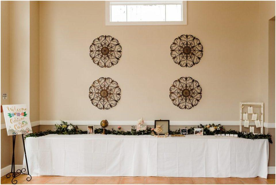 reception entrance table