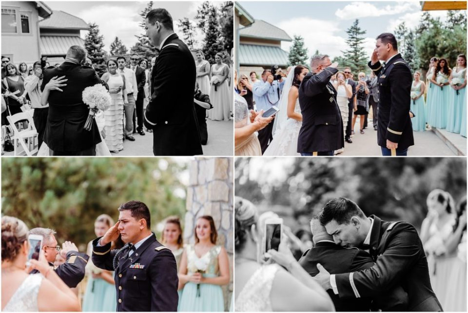 saluting father at wedding ceremony