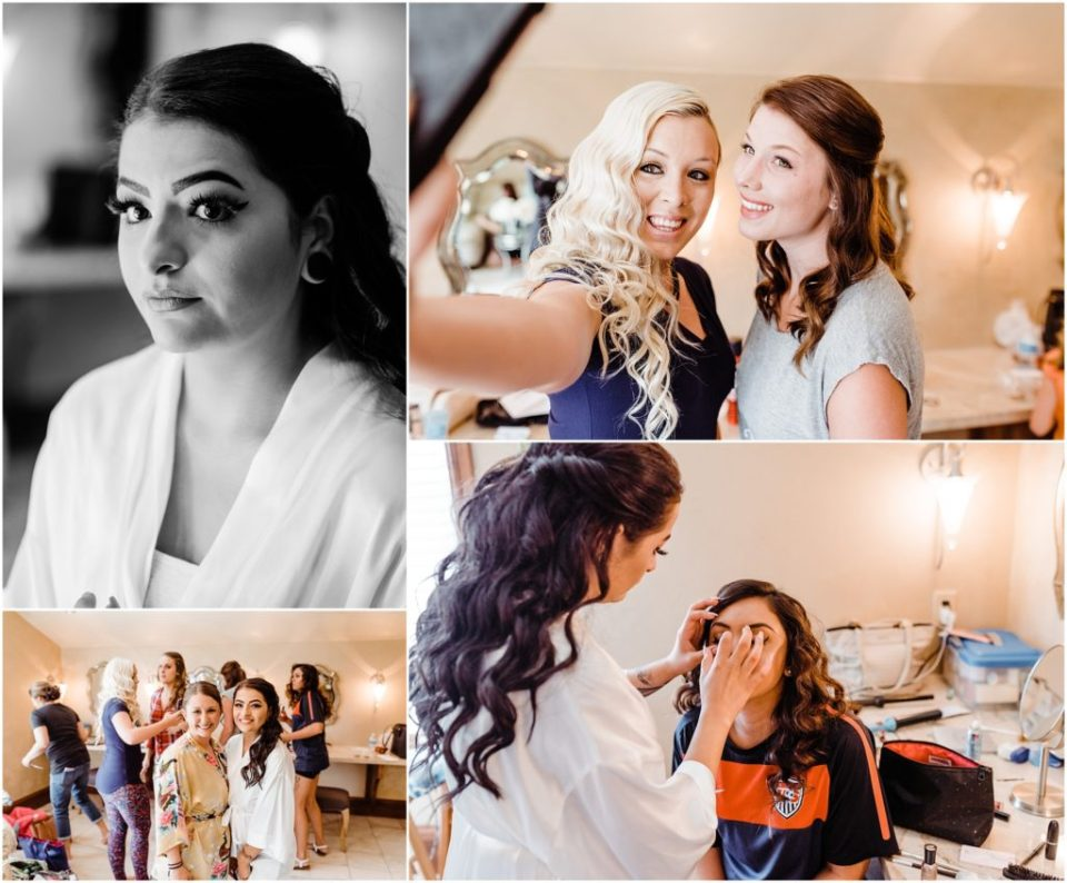 bridesmaids getting ready at cielo at castle pines