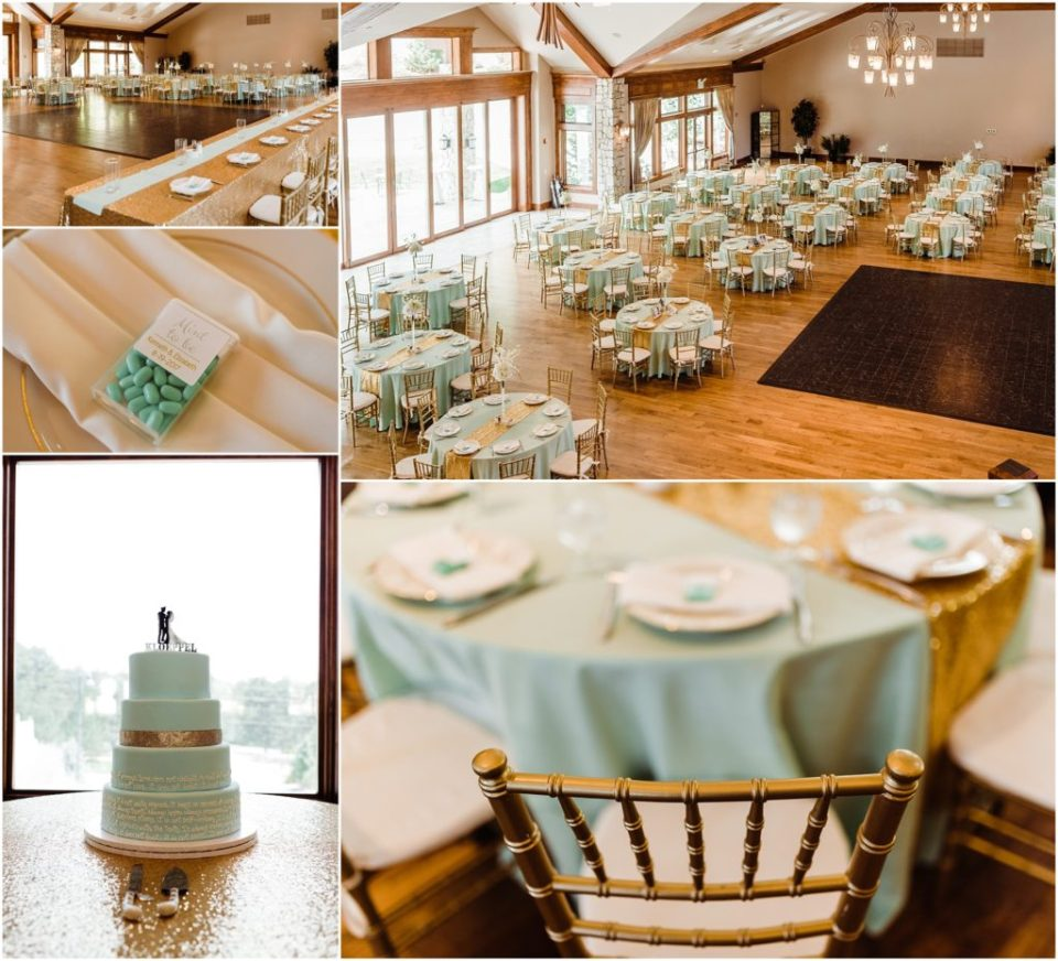 mint and gold wedding reception details