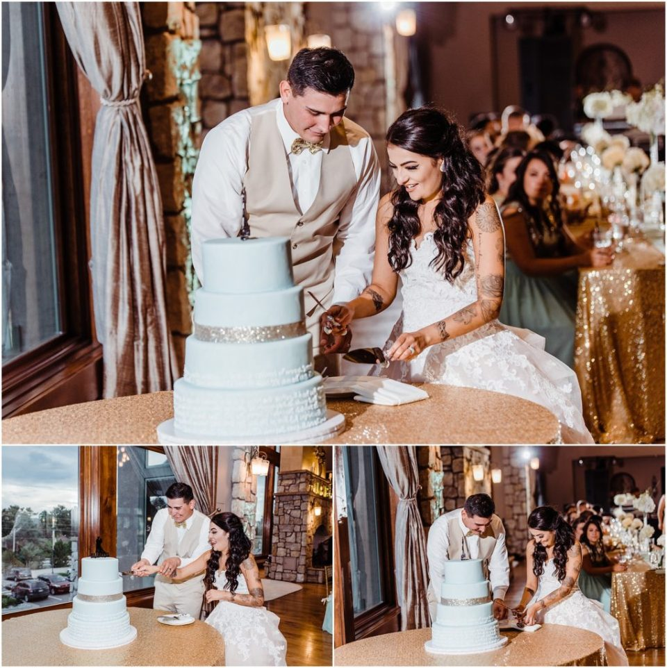cake cutting at cielo at castle pines