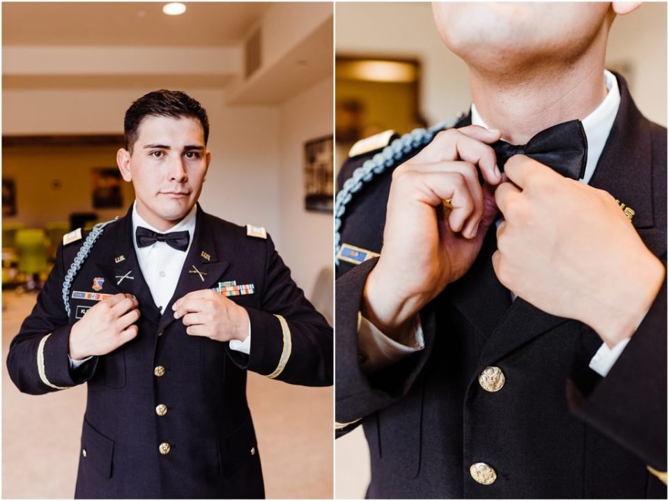 groom making final adjustments