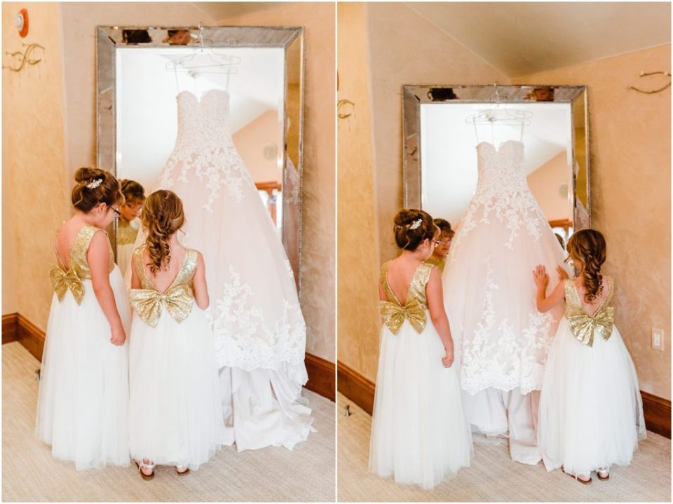 flower girls with bridal gown