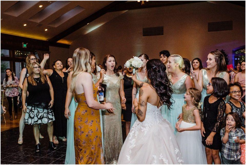 bouquet toss turns into a surprise proposal