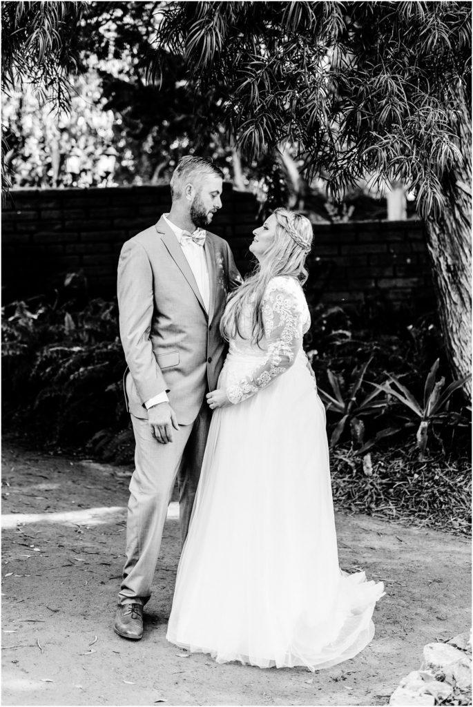 black and white wedding portrait at the san diego botanic garden